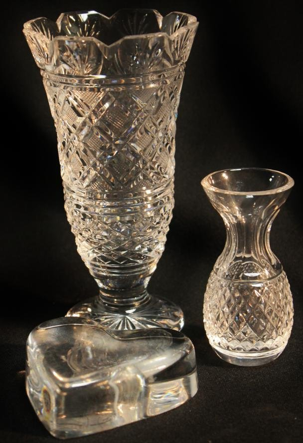 22: Waterford crystal vase, butt vase, and a heart pape