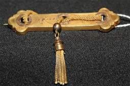 141 Victorian bar pin w rope tassel Tests  10K gold