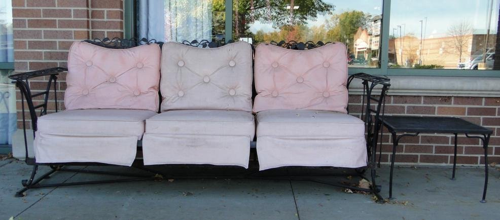 """3: A fancy iron sofa glider, 78"""" x 43"""", along with a si"""