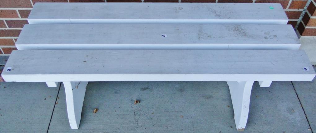8: A wooden garden bench. Est. value $30 - 40.