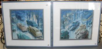 247: A pair of 1930's oil on boards depicting winter ra