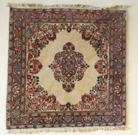 Elaborate floral, cream & blue Sarouk oriental rug. Mea