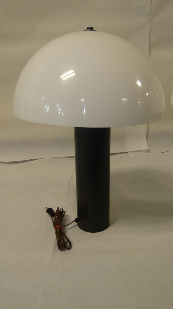 Pair of mid-century modern Plexiglas table lamps w/ dom