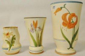 "3 floral Weller vases. Losses noted. Measure 9.25"", 7.2"