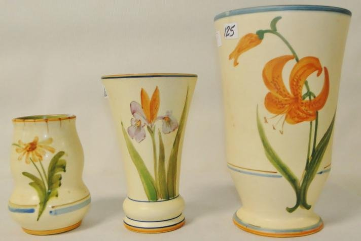 "3 floral Weller vases. Losses noted. Measure 9.25"", 7.2"