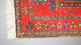 Hand Tied, Iranian Rug In Geometric Colors Of Umber, Gr