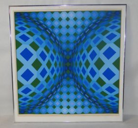 Victor Vasarely  serigraph, signed & numbered w/ emboss