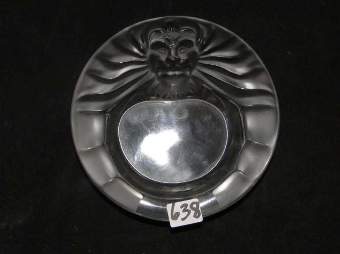"""Lalique, France Lion's head ashtray. Measures 5.5"""" acro"""