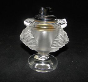 """Lalique, France Lion's head lighter. Measures 5"""" tall."""