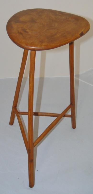 Wharton Esherick walnut & oak 3 leg stool. Signed & dat