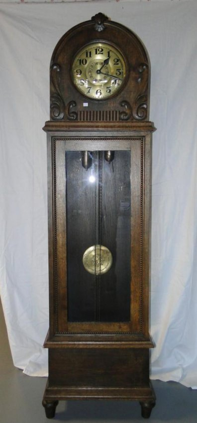 Outstanding German oak cased, weight driven grandfather