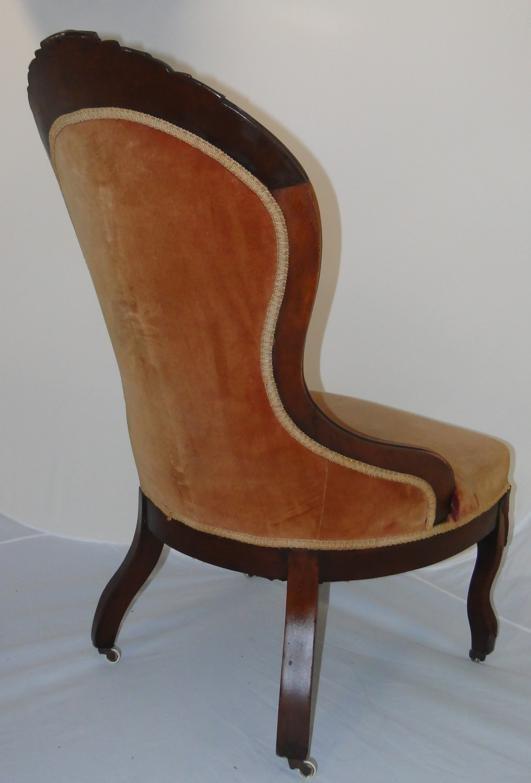 Antique slipper chair - Walnut Victorian Ladies Slipper Chair W Fruit Carved