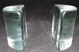 Blenko crystal bookends approx 6 inches tall
