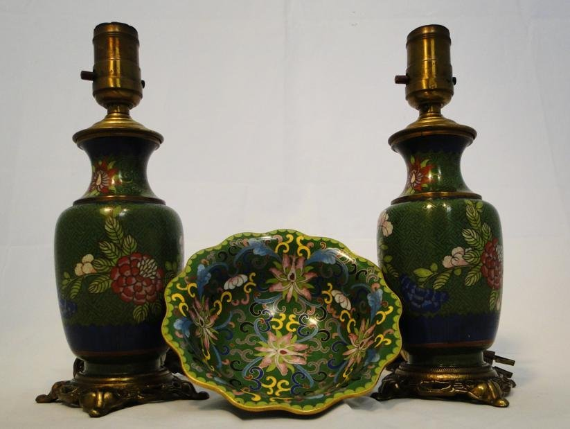 Group of floral cloisonne to include two boudoir lamps
