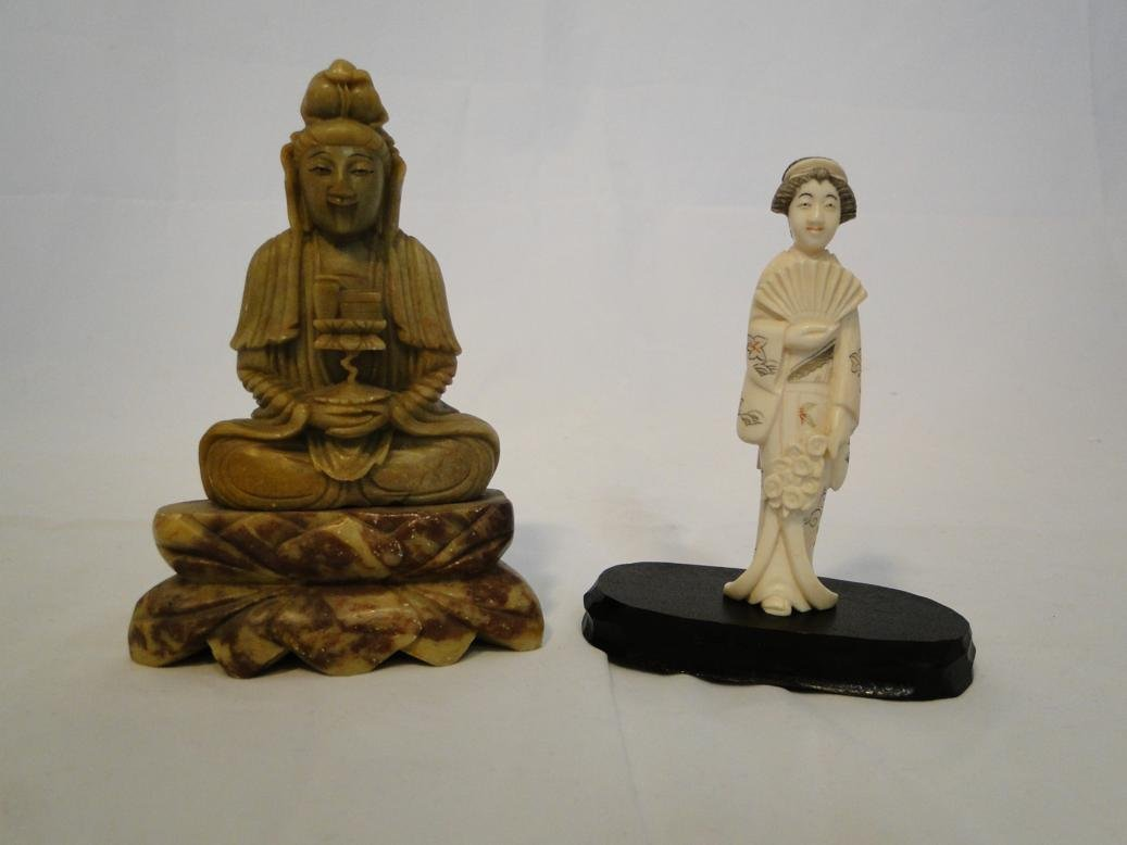 Carved Ivory Geisha artist signed on bottom along with