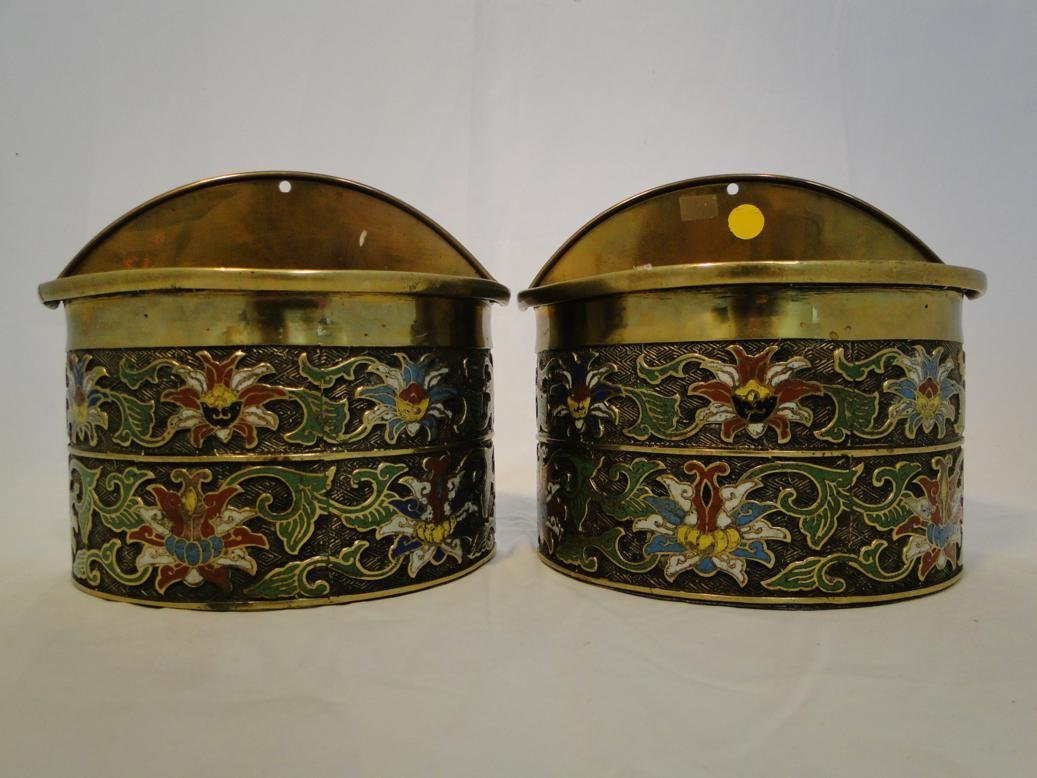 Pair of Cloisonne floral wall hung planters. Measures 8