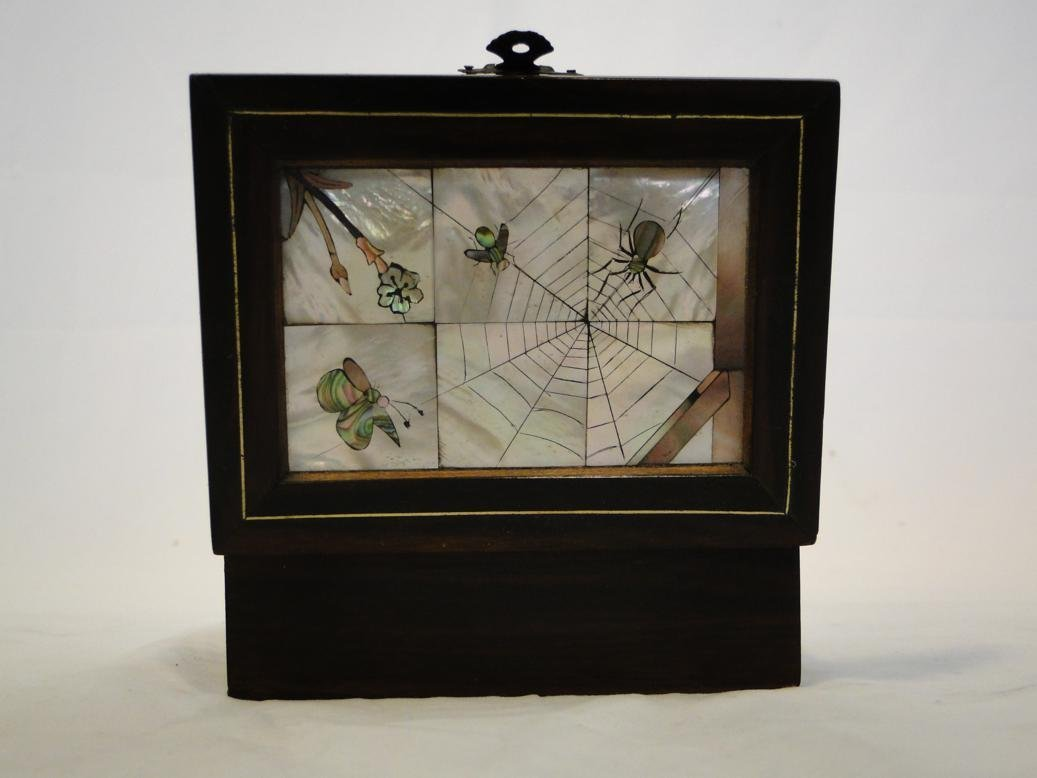 Early rosewood box with mother of pearl inlay depicting