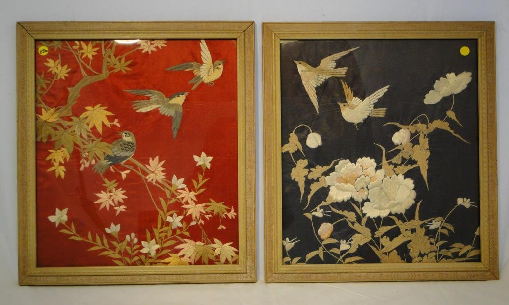 Pair of Oriental framed elaborate embroideries depictin