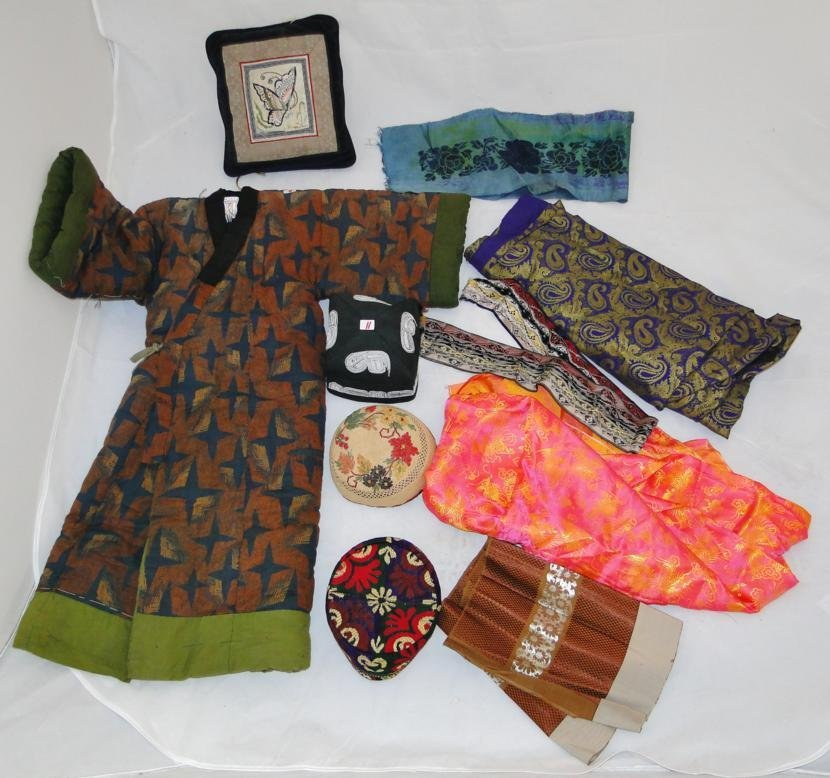 Child's kimono, 3 oriental hats and a large fragment of