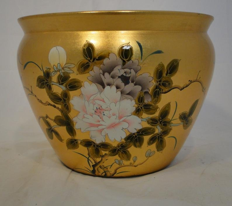 Heavily gold leafed hand painted floral jardinierre mea