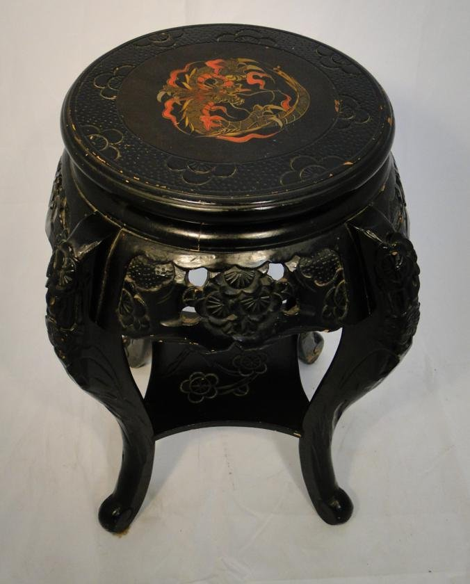 Antique oriental pierced carved lacquered stand with ha