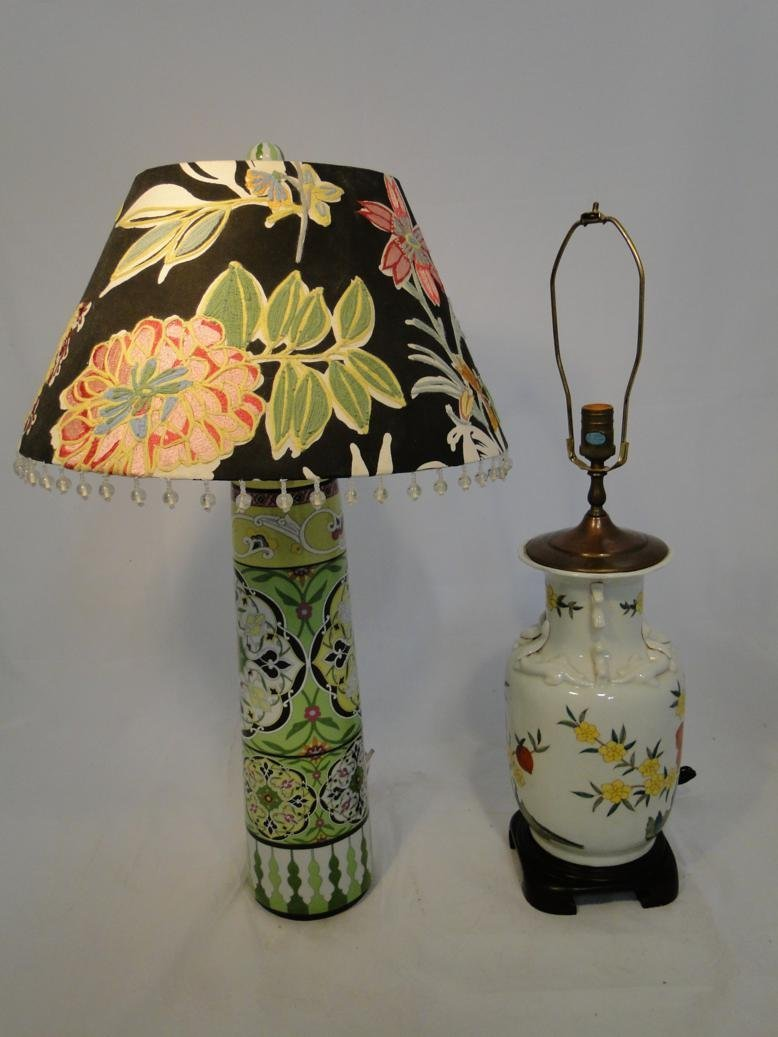 Pair of quality designer oriental style table lamps, on
