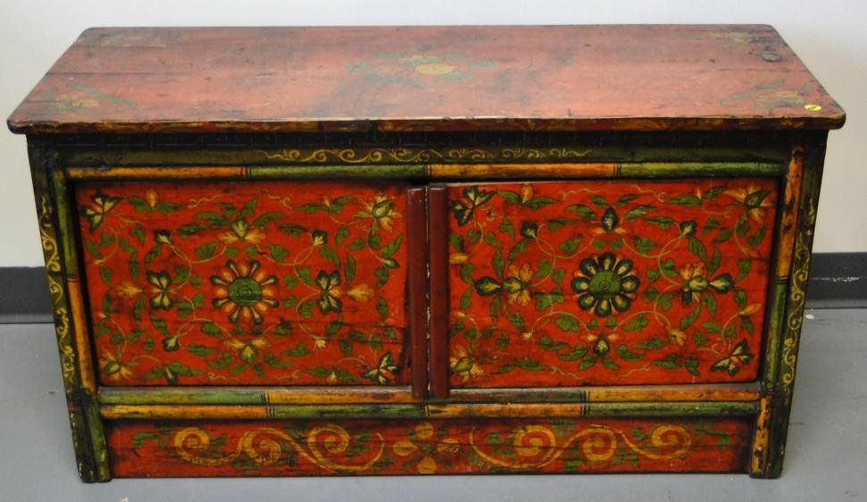 Chinese floral stenciled double door chest late 1800s -