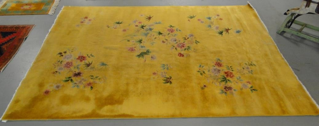 1920's room sized Chinese oriental rug with gold field