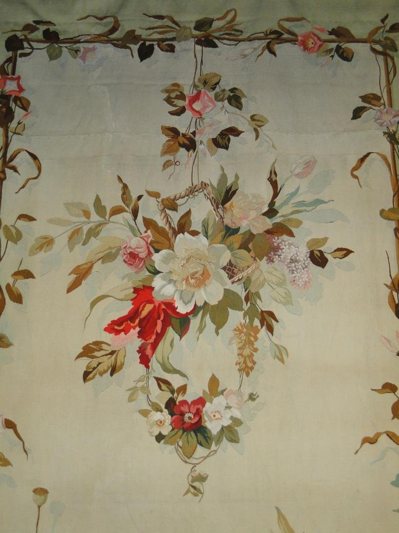 Antique 1900s stunning Aubusson needlepoint tapestry or
