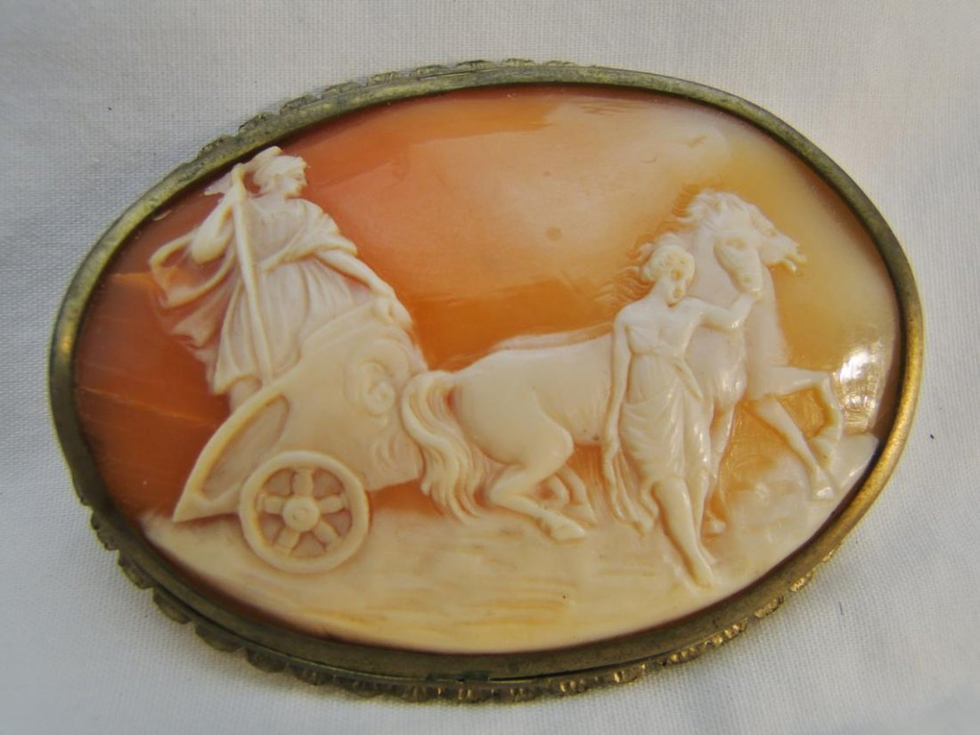 Antique cameo, natural shell, rare chariot Roman scene,