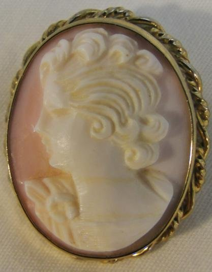 Antique cameo 1/20 12K gf, conch shell, hand carved,