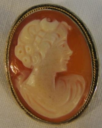Antique cameo, natural shell, sterling silver frame,