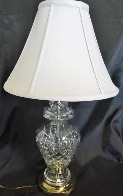 Waterford Crystal Table Lamp On Brass Base W Silk Shade