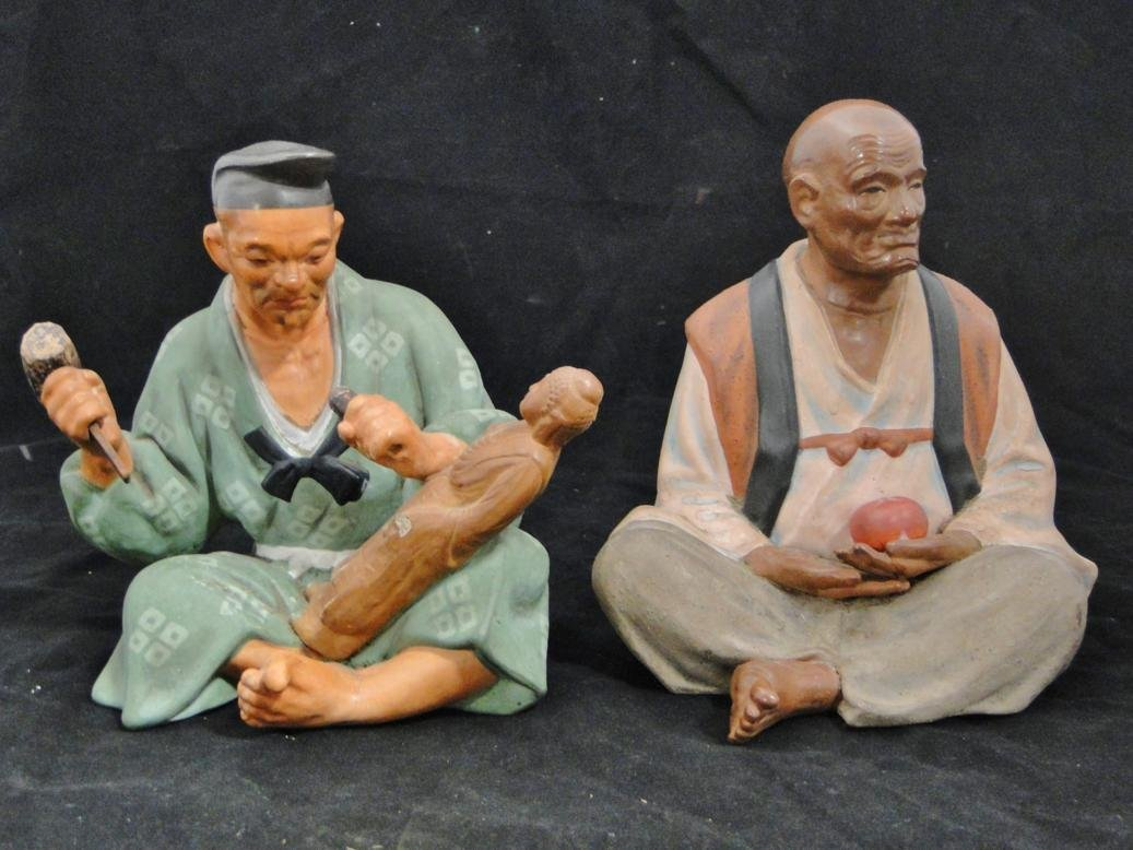 Two terracotta hand painted Japanese figures, one of a