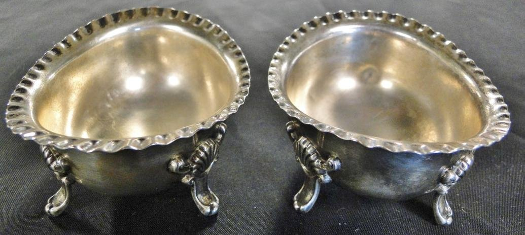 Pair of sterling silver Georgian style footed master