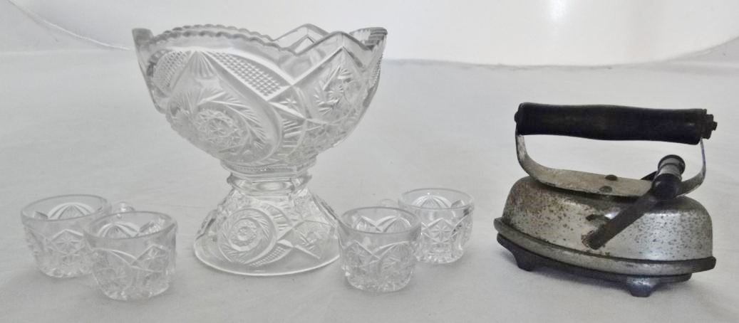 Turn of the century pressed glass doll punch bowl and