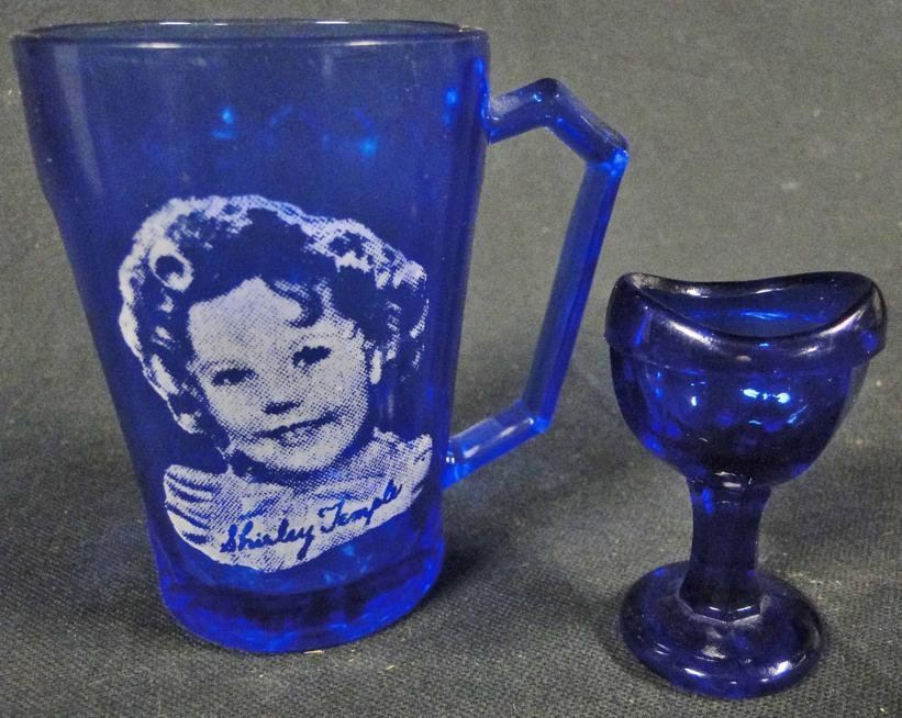 Cobalt depression era Shirley Temple mug along with an