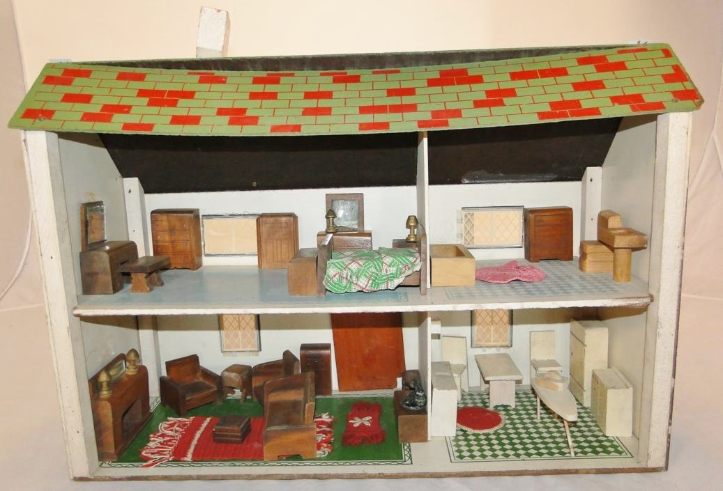 1940's doll house with wooden doll furniture and