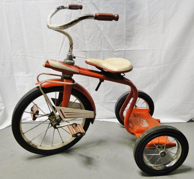 Art deco 1940's steel tricycle in original paint and