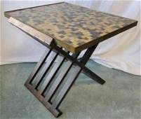 A rare Dunbar X base table in rosewood with Venetian