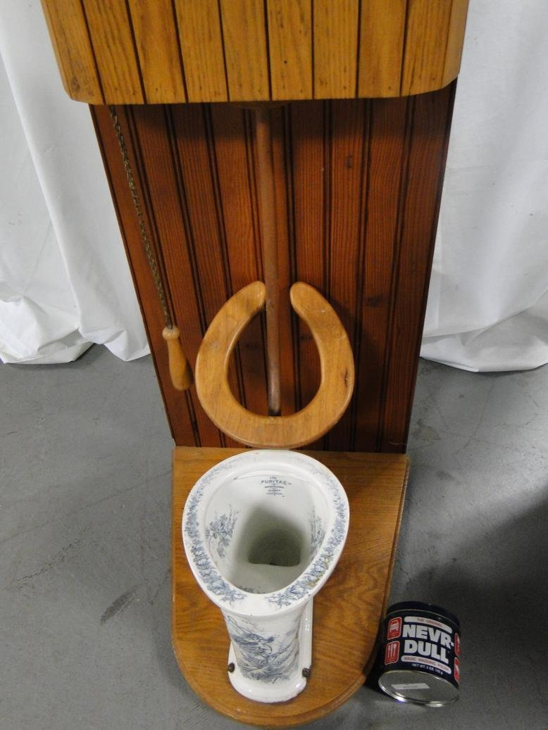 Very rare salesman sample floral full blue toilet by