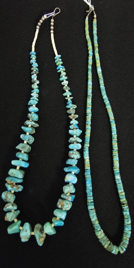 Two vared turquoise necklaces, one with graduated,