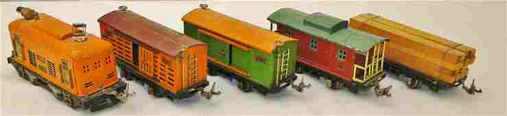 A turn of the century Lionel train with 5 cars to