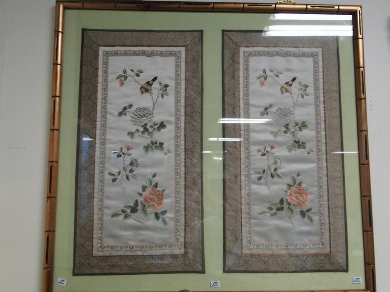 Two framed oriental blind stitched fragments.  Framed,