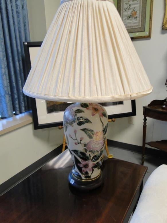"""A pair of designer table lamps, probably Ethan Allen"""","""