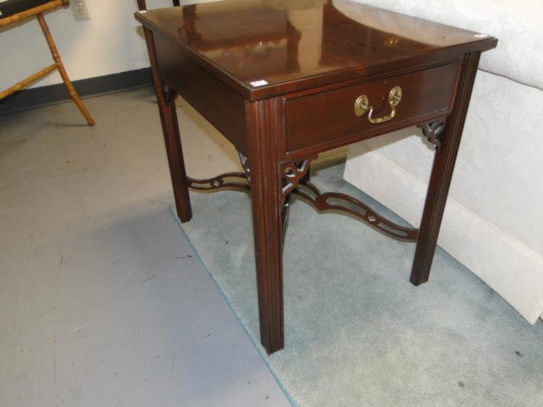 A mahogany Chinese Chippendale single drawer end table