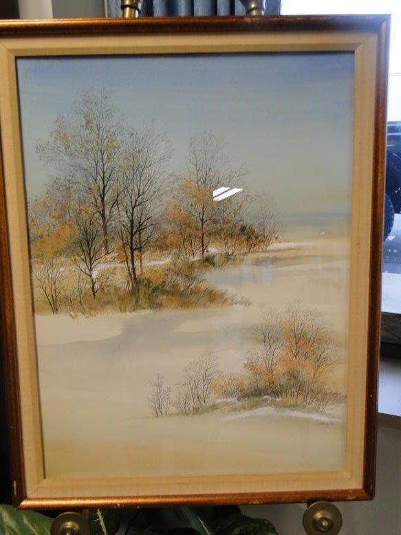 An original watercolor depicting a winter woodlands