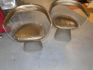 An original pair of Knoll Platner arm chairs in good