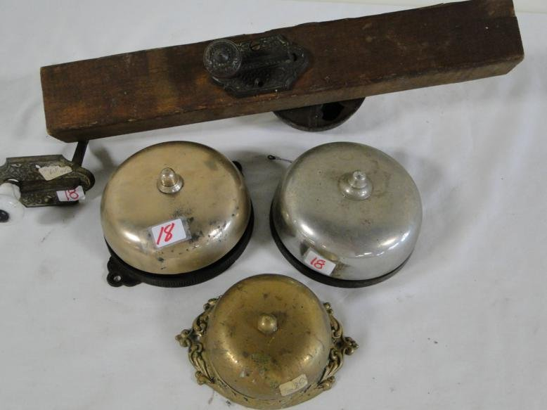 Four Victorian door bells, one mounted on a board, all - 2