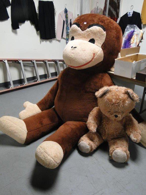 Large Curious George along with stuffed teddy bear - 2